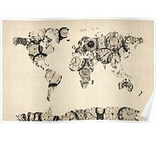 Map of the World Map from Old Clocks Poster