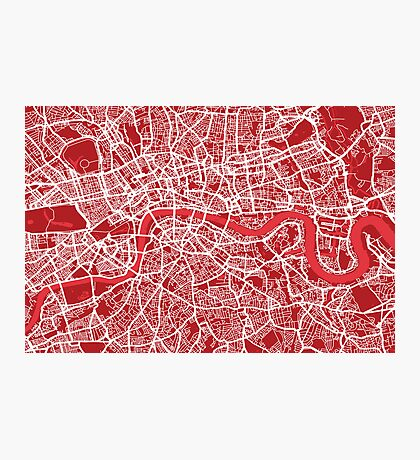London Map Art Red Photographic Print