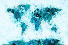 World Map Paint Splashes Blue by Michael Tompsett