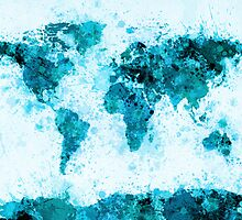 World Map Paint Splashes Blue by ArtPrints