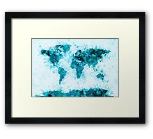 World Map Paint Splashes Blue Framed Print