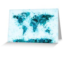 World Map Paint Splashes Blue Greeting Card