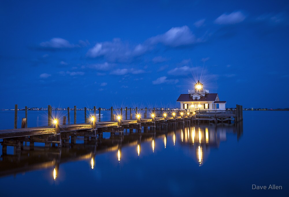 Roanoke Marshes Lighthouse Manteo NC - Blue Hour Reflections by Dave Allen