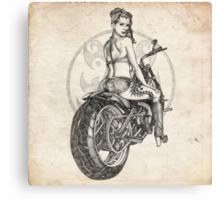 Motorcycle Girl Pinup Girl Sketch Canvas Print
