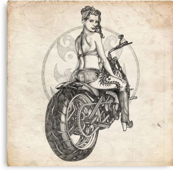 Motorcycle Girl Pinup Girl Sketch by Brent Schreiber