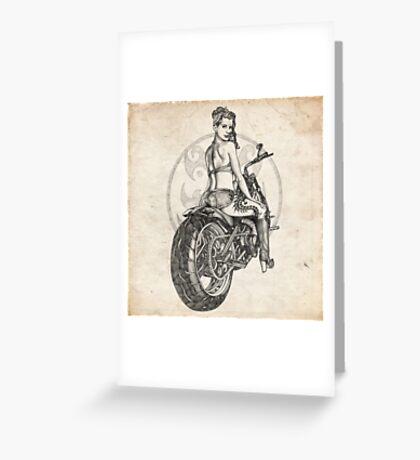 Motorcycle Girl Pinup Girl Sketch Greeting Card