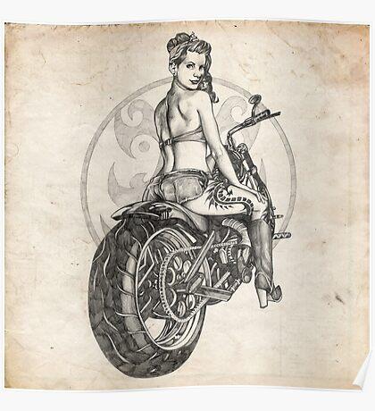Motorcycle Girl Pinup Girl Sketch Poster