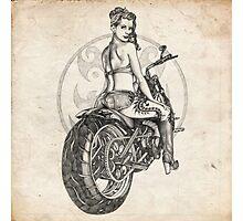 Motorcycle Girl Pinup Girl Sketch Photographic Print