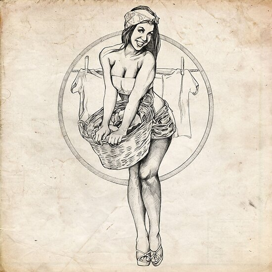 Laundry Day Pinup Girl Sketch by Brent Schreiber