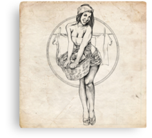 Laundry Day Pinup Girl Sketch Canvas Print