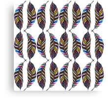 Colorful Hand Drawn Pattern Feathers Canvas Print