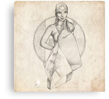 Canada Day Pinup Girl Sketch Canvas Print