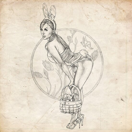 Easter Pinup Girl Sketch by Brent Schreiber