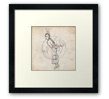 Easter Pinup Girl Sketch Framed Print