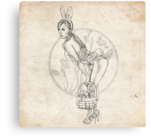 Easter Pinup Girl Sketch Canvas Print