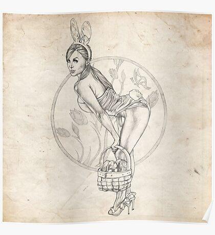 Easter Pinup Girl Sketch Poster