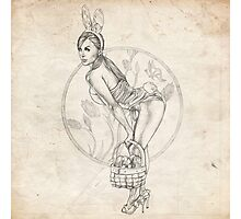 Easter Pinup Girl Sketch Photographic Print