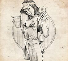 Coffee Girl Pinup Girl Sketch by Brent Schreiber