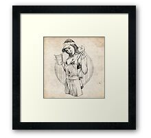 Coffee Girl Pinup Girl Sketch Framed Print