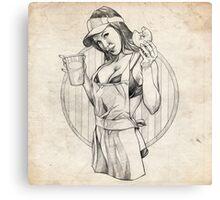 Coffee Girl Pinup Girl Sketch Canvas Print