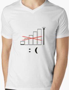 No signal, no bars. Unhappy. Mens V-Neck T-Shirt