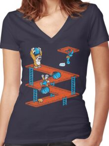Escher Kong Women's Fitted V-Neck T-Shirt