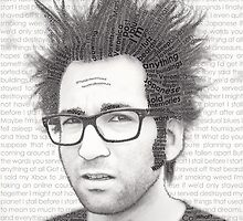 Typography Portrait of Justin Pierre (singer/guitarist) of Motion City Soundtrack by iKalDesign