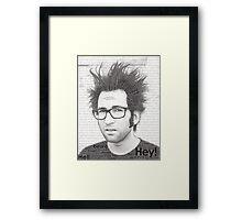 Typography Portrait of Justin Pierre (singer/guitarist) of Motion City Soundtrack Framed Print