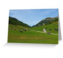 Beautiful mountain huts with small church Greeting Card