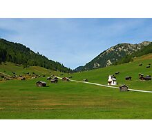 Beautiful mountain huts with small church Photographic Print
