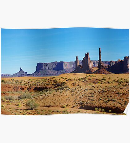 Horses, sand and rock towers, Monument Valley Poster