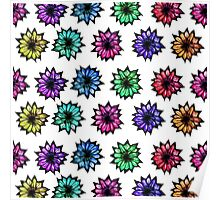 Colorful Hand Painted Flowers Poster