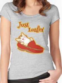 Just Loafing Cat Sleeping in Shoe Women's Fitted Scoop T-Shirt