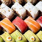 Assortment of Sushi Maki, futo maki, and Insideout by PhotoStock-Isra