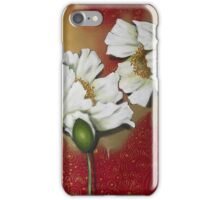 White Poppies on Red iPhone Case/Skin