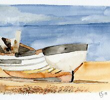 Boat resting on the beach by Eva  Ason