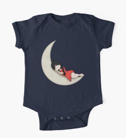 Whimsical Girl Sleeping on the Moon One Piece - Short Sleeve
