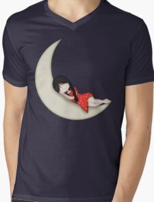 Whimsical Girl Sleeping on the Moon Mens V-Neck T-Shirt