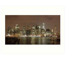 Manhattan Skyline at Night Art Print