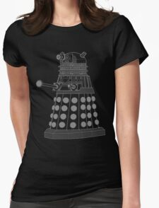 White ASCII Dalek Womens Fitted T-Shirt