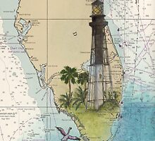 Hillsboro Inlet Lighthouse FL Chart Cathy Peek by Cathy Peek