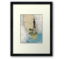 Hillsboro Inlet Lighthouse FL Chart Cathy Peek Framed Print