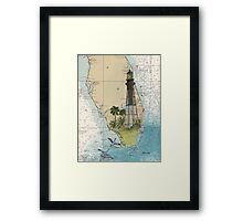 Hillsboro Inlet Lighthouse FL Chart Cathy Peek Framed Print