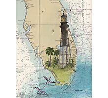 Hillsboro Inlet Lighthouse FL Chart Cathy Peek Photographic Print