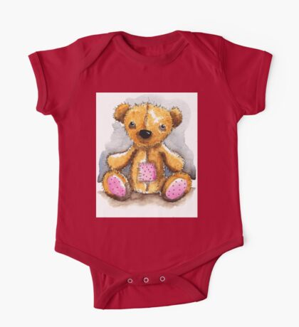 Teddy Bear with patch One Piece - Short Sleeve