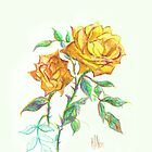 Golden Yellow Miniature Rose  by KipDeVore