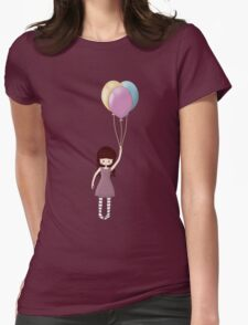 Whimsical Girl with Balloons Womens Fitted T-Shirt