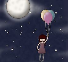 Whimsical Girl with Balloons by ArtformDesigns