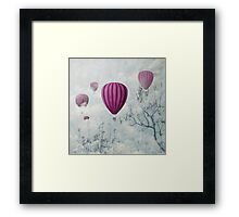 Hot air balloons in the clouds Framed Print