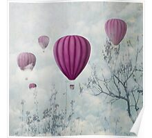 Hot air balloons in the clouds Poster